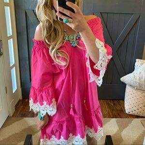 Bohemian🔥 lace -shoulder dress